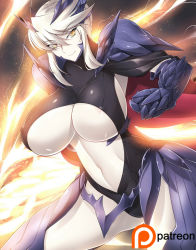 1girl areola_slip areolae armor artoria_pendragon_alter_(fate/grand_order) blonde_hair breasts fate/grand_order fate_(series) haganef huge_breasts looking_at_viewer pale_skin saber saber_alter short_hair smile solo thighs underboob yellow_eyes