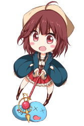1girl ahoge atelier_(series) atelier_sophie blush brown_eyes brown_hair chibi commentary_request hair_ornament hat highres holding long_sleeves looking_at_viewer numpopo open_mouth short_hair skirt smile solo sophie_neuenmuller x_x