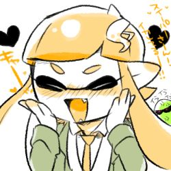 1girl angry blazer blush fangs female_inkling hair_ornament hairclip hands_on_own_face inkling jacket lowres nana_(raiupika) necktie orange_hair pleated_skirt pointy_ears school_uniform skirt smile solo splatoon tentacle_hair translation_request