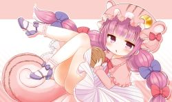 1girl animal_hat bangs blunt_bangs bow chipmunk_ears chipmunk_tail commentary_request crescent dress hair_bow hat high_heels legs_up long_hair lying marshmallow_mille mob_cap on_back patchouli_knowledge purple_eyes purple_hair simple_background socks solo tail touhou walnut_(food)