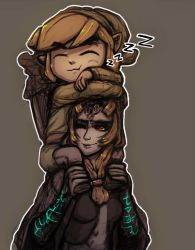 1boy 1girl blonde_hair carrying crossover front_ponytail link midna midna_(true) neon_trim one_eye_closed orange_hair red_eyes shoulder_carry sleeping_on_person spoilers telr_(artist) the_legend_of_zelda toon_link twilight_princess wind_waker yellow_sclera zzz