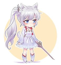 1girl animal_ears blue_eyes blush boots chibi commentary_request dog_ears dog_tail earrings eye_scar flat_chest iesupa jewelry myrtenaster necklace ponytail rwby solo tail weiss_schnee white_hair