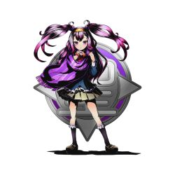 1girl black_legwear bow bowtie brown_skirt divine_gate full_body long_hair looking_at_viewer nail_polish official_art pink_eyes pink_hair pleated_skirt purple_nails purple_scarf red_bow scarf shadow skirt solo standing striped striped_bow transparent_background twintails ucmm yellow_hairband