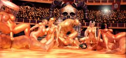 3d 4+boys 6+girls ashrah black_hair breasts cassie_cage colliseum exhibitionism fit gangbang girl hat kiss kitana mileena mortal_kombat multiple_girls muscle nipples nude orgy penis public_sex sex sindel sonya_blade tagme tan throne uncensored white_hair