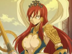 1girl angry armor breasts brown_eyes cleavage erza_scarlet fairy_tail female hair_over_one_eye large_breasts long_hair red_hair solo stitched