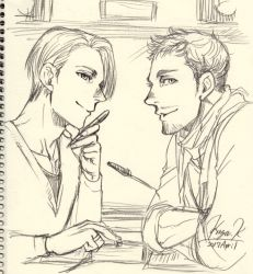2boys artist_name christophe_giacometti dated facial_hair graphite_(medium) jewelry kodaka_kazuma male_focus monochrome multiple_boys pen ring scarf signature sketch smile traditional_media viktor_nikiforov yuri!!!_on_ice