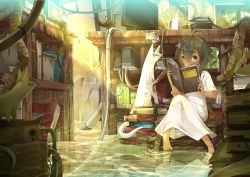 1girl absurdres book bookshelf brown_hair coffee_mug covering_mouth dress ely flood green_eyes highres jar monitor only_human original short_hair sinlaire water white_dress
