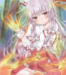 1girl armband bamboo bamboo_forest barefoot blush burning_hand dress_shirt fire forest fujiwara_no_mokou hair_ribbon highres knees_together_feet_apart lavender_hair long_hair long_sleeves looking_at_viewer marker_(medium) millipen_(medium) nature ofuda outdoors pants parted_lips red_eyes ribbon shirt sitting solo touhou traditional_media very_long_hair yukkii_(yukkii710)
