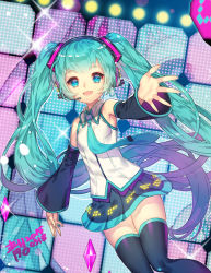 1girl aqua_eyes aqua_hair detached_sleeves erjung hatsune_miku headset long_hair necktie open_mouth outstretched_arm skirt solo thighhighs twintails very_long_hair vocaloid
