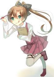 1girl akigumo_(kantai_collection) brown_hair green_eyes highres kantai_collection long_hair mechanical_pencil nan_(jyomyon) pencil ponytail school_uniform sketchbook smile tongue
