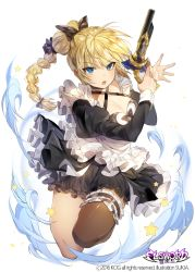 >:o 1girl :o artist_name bare_legs black_bow black_dress black_legwear blonde_hair blue_eyes bow breasts cleavage copyright_name criss-cross_halter dress elsword eyelashes frills gun hair_bow halter_top halterneck holding holding_gun holding_weapon juliet_sleeves large_breasts leg_garter long_hair long_sleeves multi-tied_hair open_mouth ponytail puffy_sleeves rose_(elsword) serious silver_hair simple_background single_thighhigh solo sukja thighhighs thighs tsurime weapon white_apron white_background