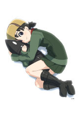 1girl artist_name bangs black_boots black_skirt blue_eyes boots brown_hair brown_hat closed_mouth ei_(akinosakae) full_body fur_hat girls_und_panzer green_jacket hat hug jacket long_sleeves looking_at_viewer lying military military_uniform miniskirt nina_(girls_und_panzer) on_side pillow pillow_hug pleated_skirt pravda_military_uniform red_shirt shirt short_hair short_twintails simple_background skirt smile solo twintails uniform ushanka vest white_background