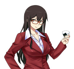 1girl akagi_(kantai_collection) alternate_costume bespectacled black_eyes breasts brown_hair food formal glasses highres kantai_collection long_hair looking_at_viewer office_lady onigiri red-framed_glasses shoumaru_(gadget_box) simple_background solo standing upper_body white_background