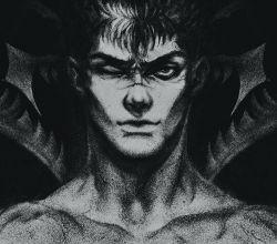 1boy berserk berserker_armor guts hosino_hikaru male monochrome one_eye_closed portrait scar