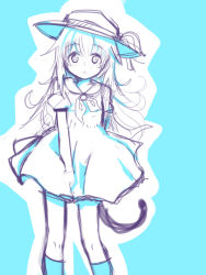 1girl :o alternate_costume between_legs blue blue_background blush cat_tail cowboy_shot dress hat hat_ribbon helma_lennartz highres izuoku long_hair looking_at_viewer open_mouth outline puffy_short_sleeves puffy_sleeves ribbon sailor_dress short_sleeves sketch solo strike_witches sun_hat tail