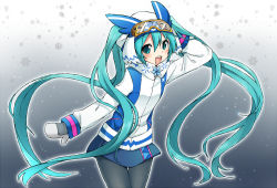 1girl :d arm_up black_legwear blue_eyes blue_hair blue_skirt blush coat gloves goggles goggles_on_head gradient gradient_background hair_between_eyes hand_behind_head hat hatsune_miku long_hair long_sleeves open_mouth pantyhose scarf skirt smile snowflakes snowing solo standing sudachi_(calendar) thigh_gap twintails very_long_hair vocaloid white_gloves winter_clothes winter_coat yuki_miku