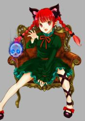 1girl animal_ears bogyaku_no_m bow braid cat_ears chair dress extra_ears fang green_dress grey_background hair_bow hair_ornament hair_ribbon kaenbyou_rin leg_ribbon long_hair long_sleeves looking_at_viewer mary_janes open_mouth pointy_ears puffy_sleeves red_eyes red_hair ribbon sash shoes simple_background sitting skull solo touhou twin_braids