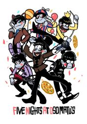 6+boys animal_ears balloon balloon_boy_(fnaf) balloon_boy_(fnaf)_(cosplay) bib blue_eyes blue_necktie blush_stickers bonnie_(fnaf) bonnie_(fnaf)_(cosplay) bow bowtie brothers bunny_ears chica chica_(cosplay) cosplay enerunaru eyepatch five_nights_at_freddy's food formal foxy_(fnaf) foxy_(fnaf)_(cosplay) freddy_fazbear freddy_fazbear_(cosplay) guitar highres hook_hand instrument male_focus matsuno_choromatsu matsuno_ichimatsu matsuno_juushimatsu matsuno_karamatsu matsuno_osomatsu matsuno_todomatsu multiple_boys necktie osomatsu-kun osomatsu-san pink_eyes pizza sextuplets siblings striped_suit suit the_puppet_(fnaf) the_puppet_(fnaf)_(cosplay) title_parody