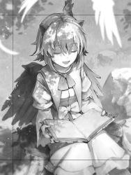 1girl bird_wings capelet eho_(icbm) eyes_closed head_wings juliet_sleeves long_sleeves monochrome puffy_sleeves reading shirt sitting skirt smile solo tokiko_(touhou) touhou