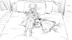2girls ascot bed bespectacled book curtains glasses hat leon_(mikiri_hassha) long_hair mob_cap monochrome multiple_girls on_bed pajamas patchouli_knowledge petting pillow reading remilia_scarlet sitting sitting_on_bed sketch sleeping sleeping_on_person touhou very_long_hair window