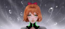 1girl bow face green_eyes hair_bow lips orange_hair pale_skin penny_polendina portrait roland-gin rwby solo water