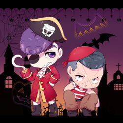 2boys bandanna bat chibi church cross eyepatch facial_mark grey_eyes grey_hair grin hat higashikata_jousuke hook_hand jojo_no_kimyou_na_bouken multicolored_hair multiple_boys nijimura_okuyasu pirate_costume pirate_hat pompadour pumpkin purple_eyes purple_hair shirt silhouette silk smile spider_web squatting striped striped_shirt tombstone tsucchan two-tone_hair