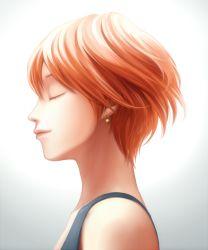 1girl bon_nob earrings eyes_closed hoshizora_rin jewelry light_smile love_live!_school_idol_project orange_hair portrait profile short_hair solo tank_top