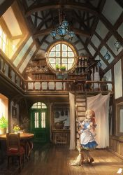 1girl bed bed_sheet blue_skirt broom brown_shoes chair chandelier chest door dress fantasy indoors lamp light_rays maid original picture_frame plant pointy_ears pot potion potted_plant reflection scenery shadow shelf shoes skirt skull solo sunlight table watermark window you_(shimizu)