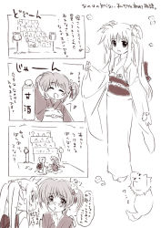 2girls 4koma arf blush comic couple fate_testarossa hair_ornament looking_at_another lyrical_nanoha mahou_shoujo_lyrical_nanoha mahou_shoujo_lyrical_nanoha_a's monochrome multiple_girls open_mouth puppy short_twintails smile takamachi_nanoha tokoharu translation_request twintails yukata yuri