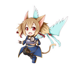 1girl animal_ears brown_hair cat_ears cat_tail chibi highres kuena pina_(sao) red_eyes short_hair silica silica_(sao-alo) sword_art_online tail thighhighs