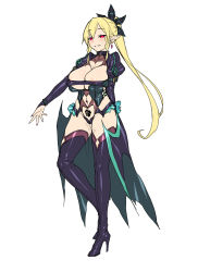 1girl alternative_costume arms_behind_back black_boots black_dress blonde_hair blush boots breasts choker cleavage corruption dress full_body high_heel_boots high_heels large_breasts leafa long_hair looking_at_viewer pointy_ears ponytail red_eyes satou_kuuki shorts simple_background smile solo standing sword_art_online thighhighs tied_hair very_long_hair white_background white_legwear white_shorts
