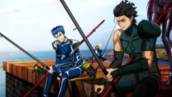 2boys 2girls blood commentary_request day death dock fate/grand_order fate/stay_night fate/zero fate_(series) fishing fishing_rod food gae_bolg gae_buidhe gae_dearg genya_(genya67) highres ice_cream impaled lancer lancer_(fate/zero) multiple_boys multiple_girls ocean parody pier polearm saber sandwich scathach_(fate/grand_order) sky spear stabbed weapon