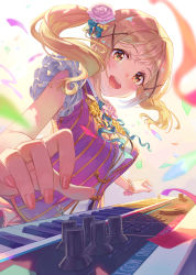 1girl arched_back bang_dream! bare_shoulders blonde_hair blush breasts frilled_sleeves frills hair_between_eyes ichigaya_arisa instrument keyboard_(instrument) lips long_hair looking_at_viewer medium_breasts nail_polish open_mouth perspective pink_shirt ribbed_shirt shirt skirt skirt_set sleeveless sleeveless_shirt solo terumii twintails upper_body yellow_eyes
