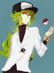 1boy green_hair hat kite-mitiko long_hair male_focus n_(pokemon) poke_ball pokemon pokemon_(game) pokemon_bw simple_background solo