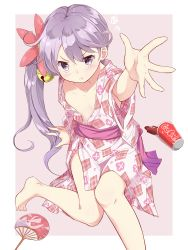1girl :t absurdres akebono_(kantai_collection) barefoot bell blush coca-cola collarbone fan flower full_body hair_bell hair_flower hair_ornament highres japanese_clothes jingle_bell kantai_collection kengorou_saemon_ii_sei kimono long_hair looking_at_viewer open_clothes open_kimono outstretched_arm paper_cup paper_fan purple_eyes purple_hair side_ponytail simple_background sitting solo spilled tsurime uchiwa wide_sleeves yukata