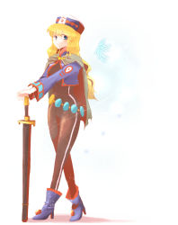 blonde_hair blue_eyes bodysuit breasts cape chloe_valens chloe_valens_(cosplay) cosplay hat jacket long_hair open_mouth shirley_fennes shoes sword tales_of_(series) tales_of_legendia weapon