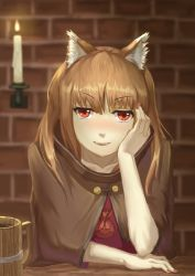 >:d 1girl :d absurdres blush brown_hair candle chin_rest cloak cup eyebrows_visible_through_hair fangs fingernails highres holo long_fingernails long_hair mug open_mouth pouch red_eyes smile solo spice_and_wolf youzi_(small_shabao)