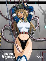 1girl bondage competition_swimsuit erect_nipples frontal_wedgie long_hair nyanko_batake one-piece_swimsuit original swimsuit wedgie