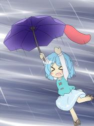 >_< blue_hair blush eyes_closed female geta karakasa_obake open_mouth rain senba_chidori short_hair skirt solo tatara_kogasa tears tongue touhou umbrella