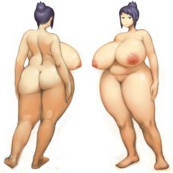 1girl areolae belly black_eyes breasts full_body gigantic_breasts huge_ass large_areolae mound_of_venus nude original plump puffy_nipples purple_hair short_hair solo standing thick_thighs ukame white_background wide_hips