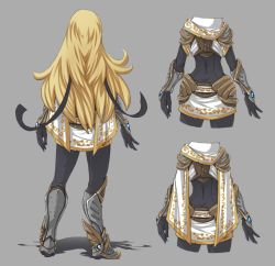 1girl armor armored_boots blonde_hair bodysuit boots butt_crack cape_removed detail from_behind full_body gauntlets hairband hushabye league_of_legends long_hair luxanna_crownguard miniskirt scarf skirt solo