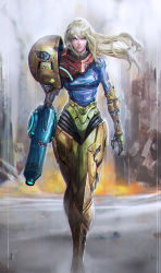 1girl arm_cannon blonde_hair broken_armor dirty full_body longai looking_at_viewer metroid realistic samus_aran solo standing torn_clothes varia_suit zero_suit