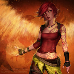 1girl belt bob_cut borderlands breasts cleavage deviantart_username fingerless_gloves fire gloves highres lilith_(borderlands) lipstick looking_at_viewer makeup medium_breasts midriff mirco_cabbia patreon_username pouch red_hair red_lipstick short_hair signature siren_(borderlands) solo tattoo watermark web_address yellow_eyes