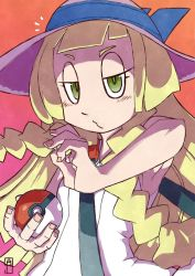 /\/\/\ 1girl bag bangs bare_arms bare_shoulders blonde_hair blunt_bangs blush braid chawalit_adsawawalanon closed_mouth collared_dress dress duffel_bag fingernails gradient gradient_background green_eyes half-closed_eyes handbag hat highres holding holding_poke_ball lillie_(pokemon) long_hair looking_at_viewer o3o poke_ball pokemon pokemon_(game) pokemon_sm sleeveless sleeveless_dress solo sun_hat sundress twin_braids upper_body white_dress white_hat