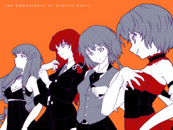 4girls aka_ringo alternate_costume contemporary dress formal hand_on_own_chest hong_meiling izayoi_sakuya monochrome multiple_girls no_hat no_headwear orange_background pant_suit patchouli_knowledge remilia_scarlet simple_background spot_color suit the_embodiment_of_scarlet_devil touhou