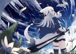 1girl ahoge animal_ears belt_pouch bird black_gloves black_legwear black_ribbon black_shorts blue_sky butterfly cloud day ears_down flower fox_ears fox_tail from_behind gloves jacket long_hair long_sleeves original outdoors perspective petals profile ribbon sheath sheathed shio_(shia-ushio) shorts sky solo standing sword tail tail_ribbon thighhighs weapon white_hair wind yellow_eyes