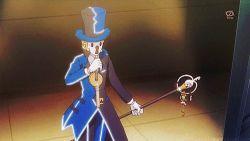 1boy animated animated_gif blonde_hair hat klefki pokemon pokemon_(anime)