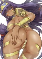 1girl arino_towatari ass blush bracelet breasts convenient_censoring dark_skin egyptian egyptian_clothes facial_mark fate/grand_order fate_(series) jewelry long_hair looking_at_viewer nitocris_(fate/grand_order) purple_eyes purple_hair solo very_long_hair