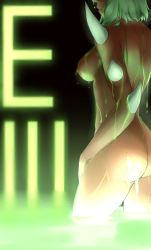 1girl ass breasts dark_skin demon_girl doom_(game) from_side glowing green green_hair head_out_of_frame highres imp_(doom) klein_voimond nipples partially_submerged personification short_hair solo spikes thighs water water_drop water_droplets wet