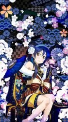 artist_request blue_hair bow fan japanese_clothes kimono love_live! sonoda_umi yellow_eyes